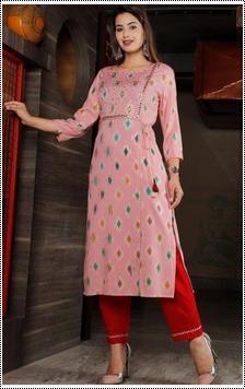 Ladies Pink Printed Rayon Kurti
