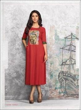 Ladies Red Printed Rayon Kurti