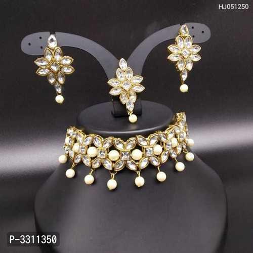 Choker Style Kundan Beaded Necklace Set