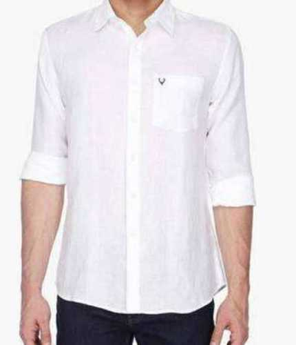 Men White Plain Pattern Cotton Shirt