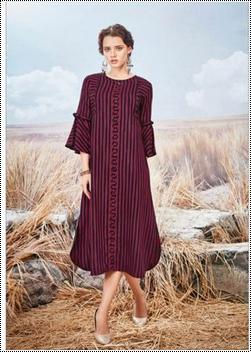 Ladies Bell Sleeves Striped Rayon Kurti