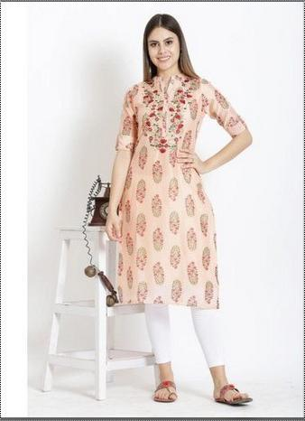 Skin Friendliness Ladies Embroidered Rayon Kurti