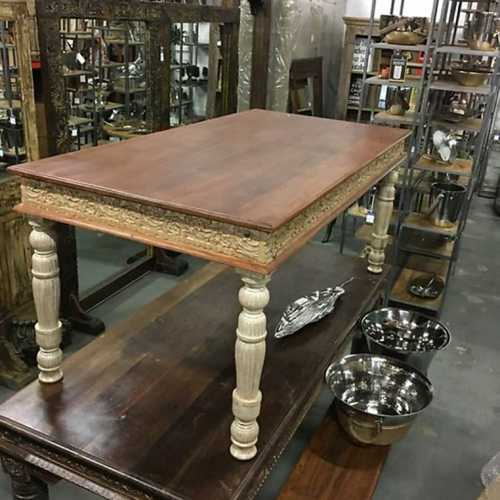 Square Shape Carved Wood Dining Table