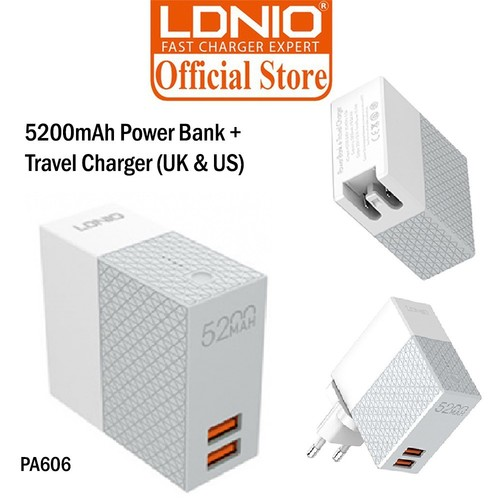LDNIO PA606 Travel Charger Adapter and Power Bank
