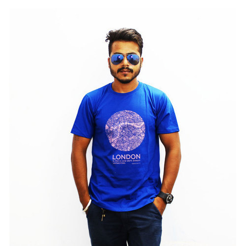 Blue Color Half Sleeve Mens Round Neck Printed T Shirt