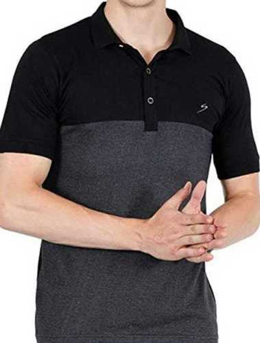 Upper Black And Lower Grey Mix Color Button Closure Collar Neck Half Sleeve Mens T Shirt