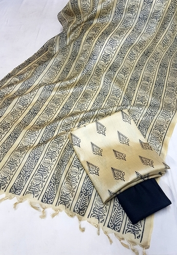 Tussar Silk Block Printed Dress Material (3 Pcs)