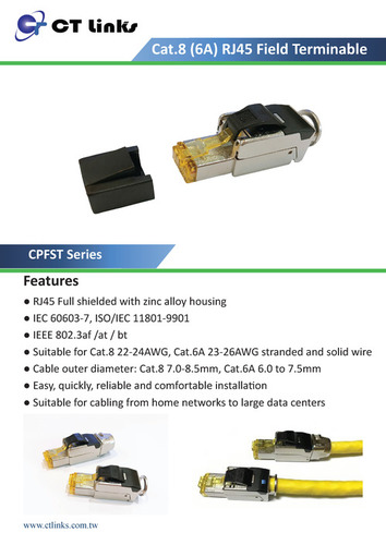 RJ45 Field Terminable Plug, Shielded (C8/C6A)