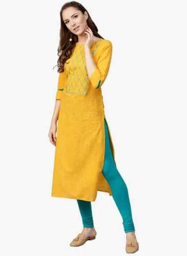 Soft Texture 3/4 Sleeve Yellow Cotton Kurtis