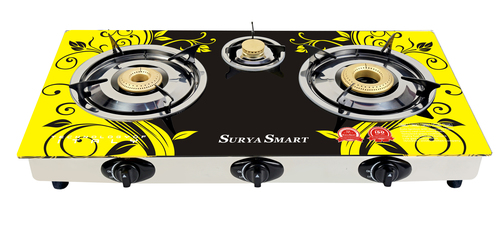 3 Burner Automatic Glass Top Gas Stove (SS-005)