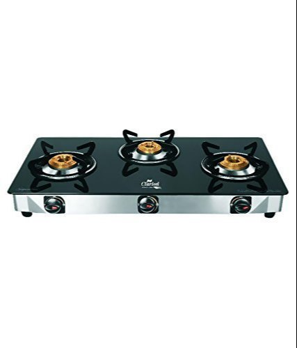 3 Burner Glass Top Manual Gas Stoves