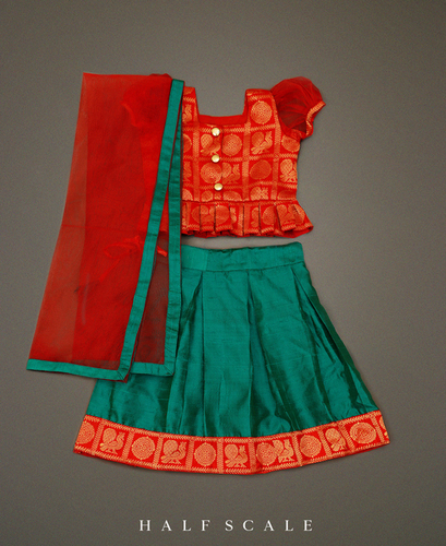 Chili Red 'N' Sapphire Green Silk Skirt-Set