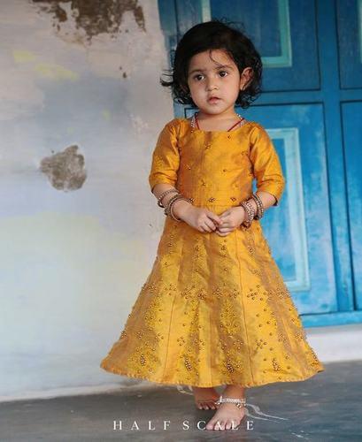 Gold Block-Printed Anarkali Dress