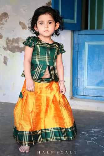 Green and Mango Peplum Traditional Skirt-Set