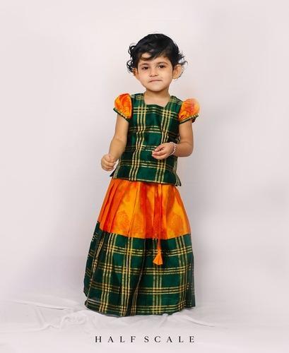Green and Yellow Long Border Zari Checks Girls Pattu Pavadai Set