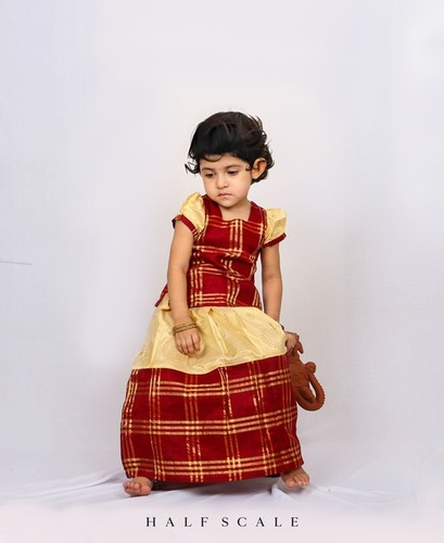Maroon and Beige Long Border Zari Checks Pattu Pavadai Set
