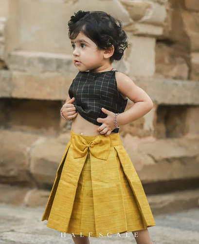 Mustard Yellow and Black Tussar Silk Skirt Set