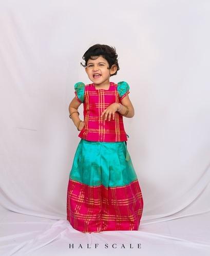 Pink and Blue Long Border Zari Checks Pattu Pavadai Set