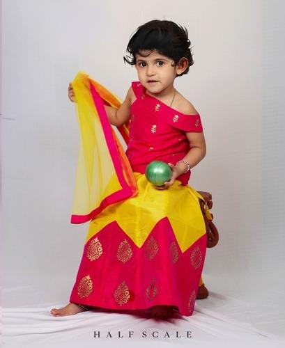 Pink and Yellow Gold Block Print Silk Zig Zag lehenga Choli with Net dupatta