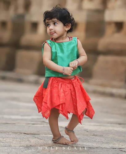 Sea-Foam Green and Orange Silk Skirt Set