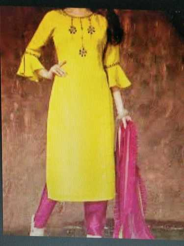 Yellow Color Leggings Kurta