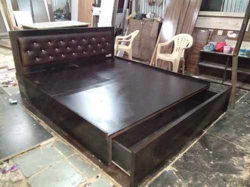 Glossy Finish Wooden Double Bed