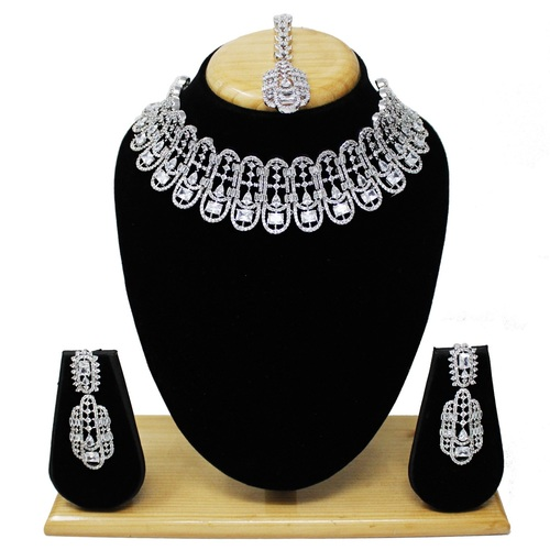 American Diamond Silver Plated Choker Necklace Set Ad At Price 2962 Inr Box In Mumbai Alex Jewellery Pvt Ltd