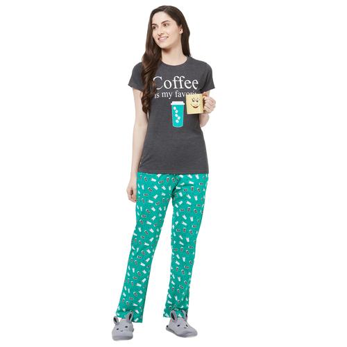 Evolove Women Printed Pajama T Shirt Sets