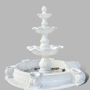 Handcrafted White Marble Water Fountain