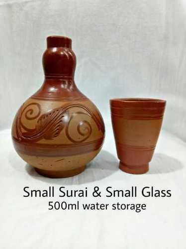 Handmade Organic Clay Surai With Small Glass