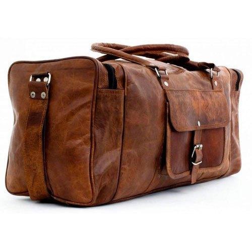 Leather Plain Brown Luggage Bag