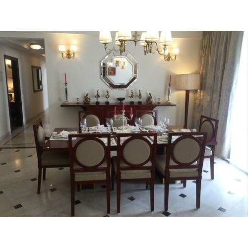 Polished 8 Seater Wooden Dining Table