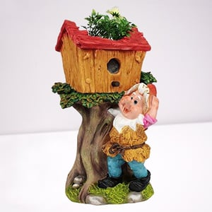 Back Garden Gnome With Tree House Flower Pot