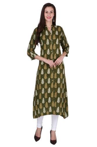 Multicolor Ladies Rayon Green Long Kurti