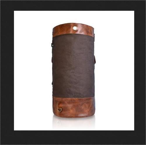 Tan Leather Travel Duffle Bag