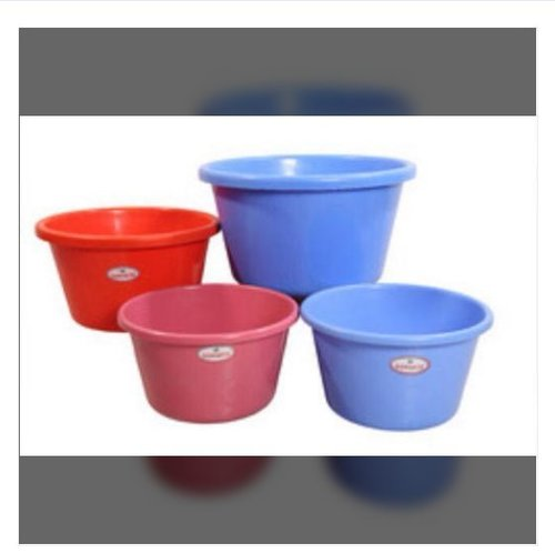 Blue And Red Plastic Round Tub