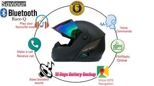 Bluetooth Helmet with 10 Days Battery Backup