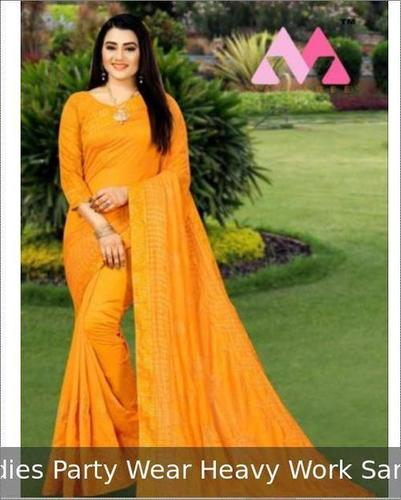 Ladies Party Wear Embroidery Work Saree