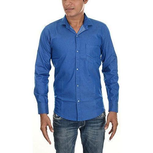 Cotton Mens Full Sleeve Blue Plain Shirt