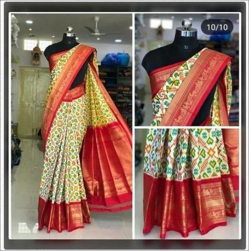 Ladies Ikkat Jacquard Silk Saree