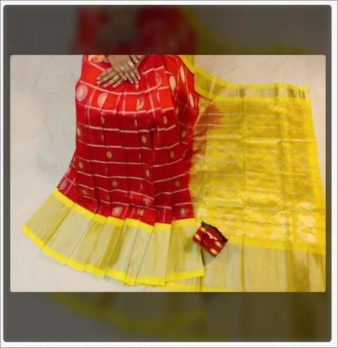 Ladies Red And Yellow Kuppadam Handloom Silk Saree