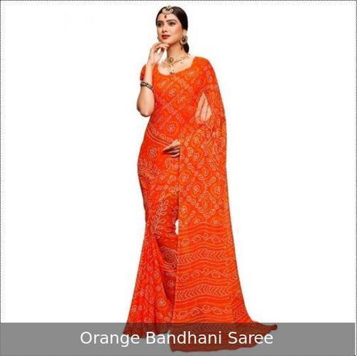 Orange Color Bandhani Saree