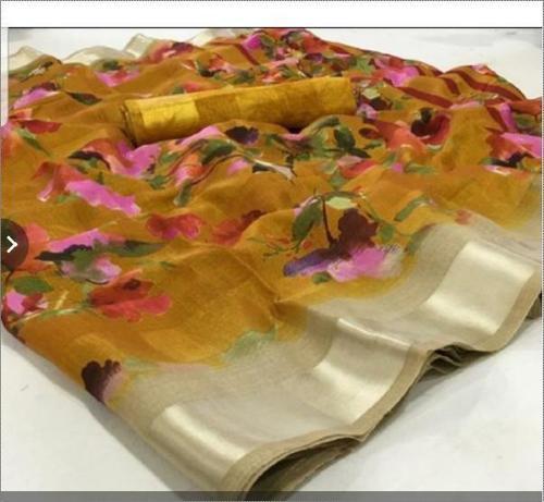 Shrink Resistance Tangil Silk Saree With Blouse