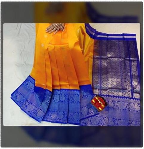 Yellow And Blue Kuppadam Handloom Silk Saree