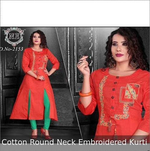 Cotton Round Neck Embroidered Ladies Kurti