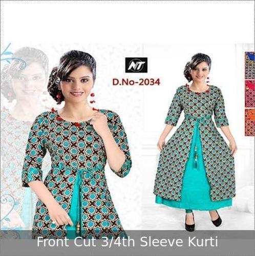 Front Cut Printed Ladies Kurti