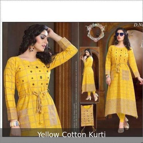 Full Sleeve Yellow Ladies Kurti