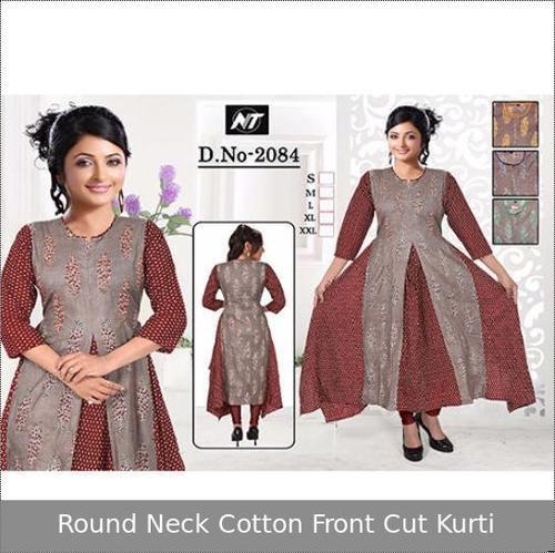Round Neck Cotton Front Cut Kurti