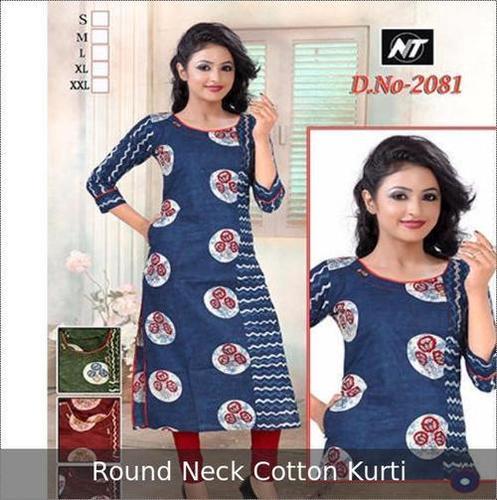 Round Neck Cotton Ladies Kurti