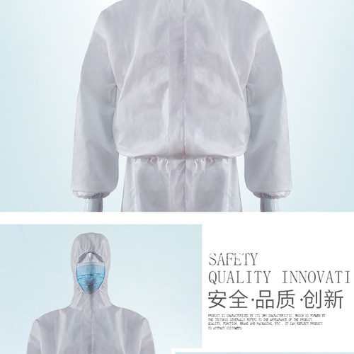 White Coverall Chemical Hazmat Isolation Suit Disposable Protective Clothing